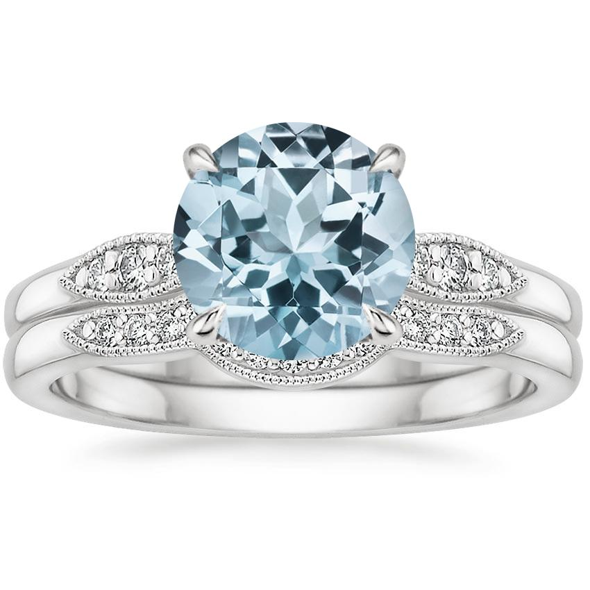 18KW Aquamarine Isadora Diamond Bridal Set, top view