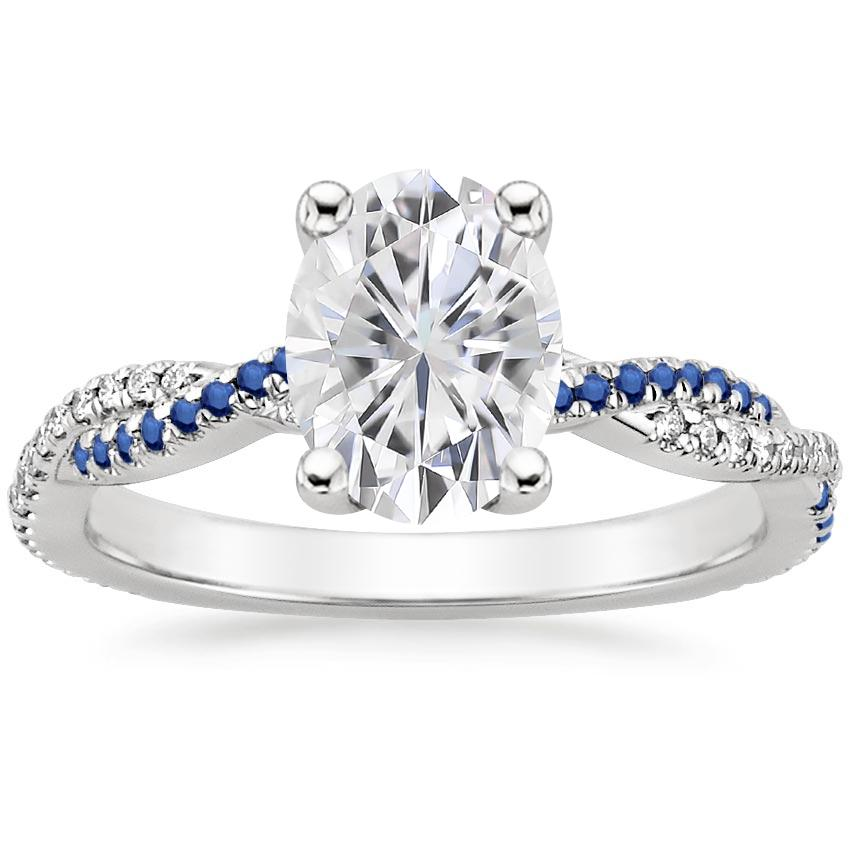 Moissanite Petite Luxe Twisted Vine Sapphire and Diamond Ring (1/8 ct. tw.) in 18K White Gold
