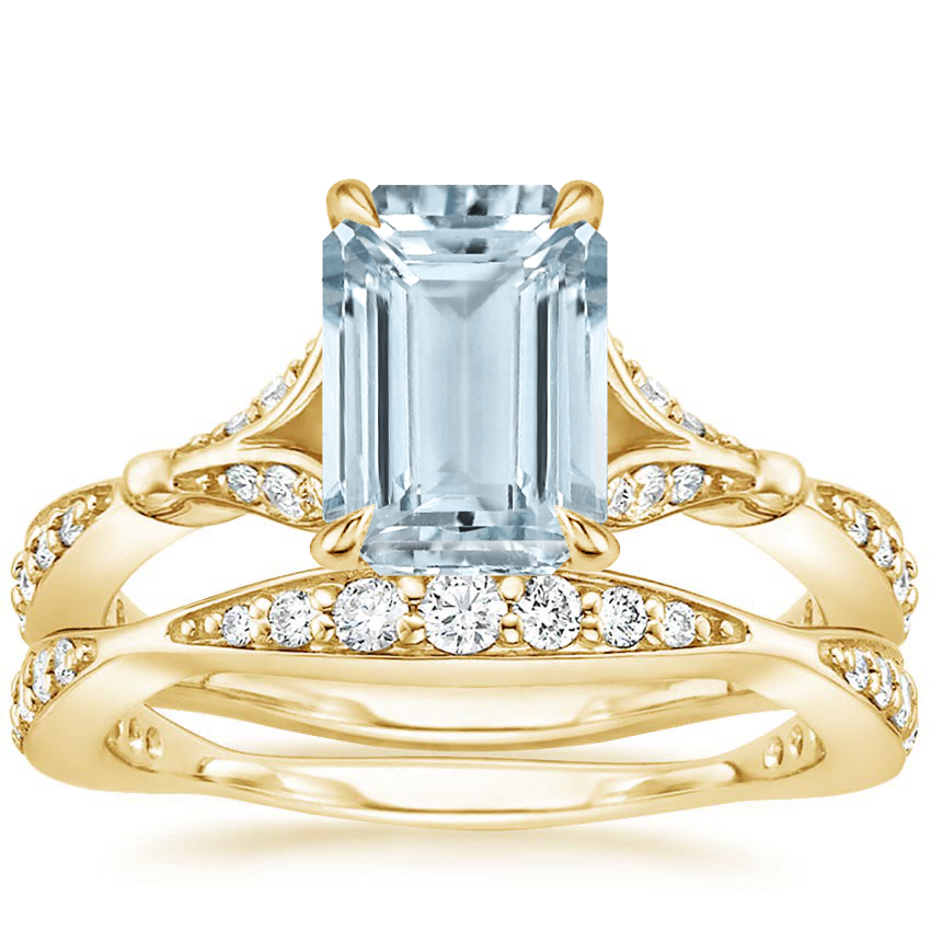 18KY Aquamarine Zinnia Diamond Bridal Set (1/2 ct. tw.), top view
