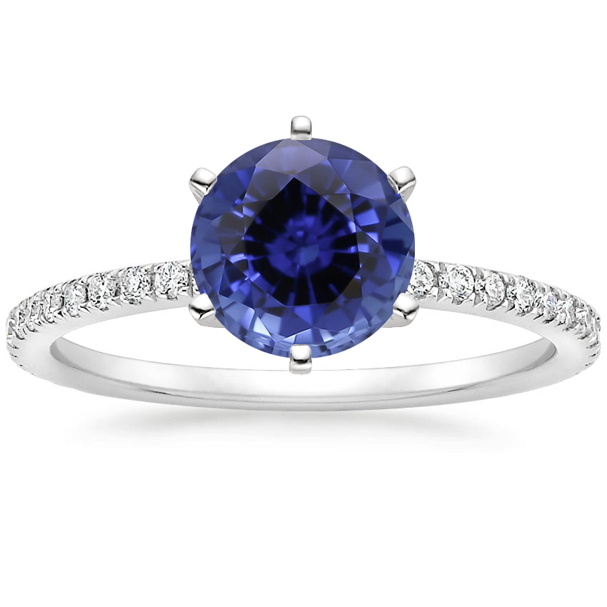 Sapphire Six-Prong Luxe Ballad Diamond Ring in 18K White Gold