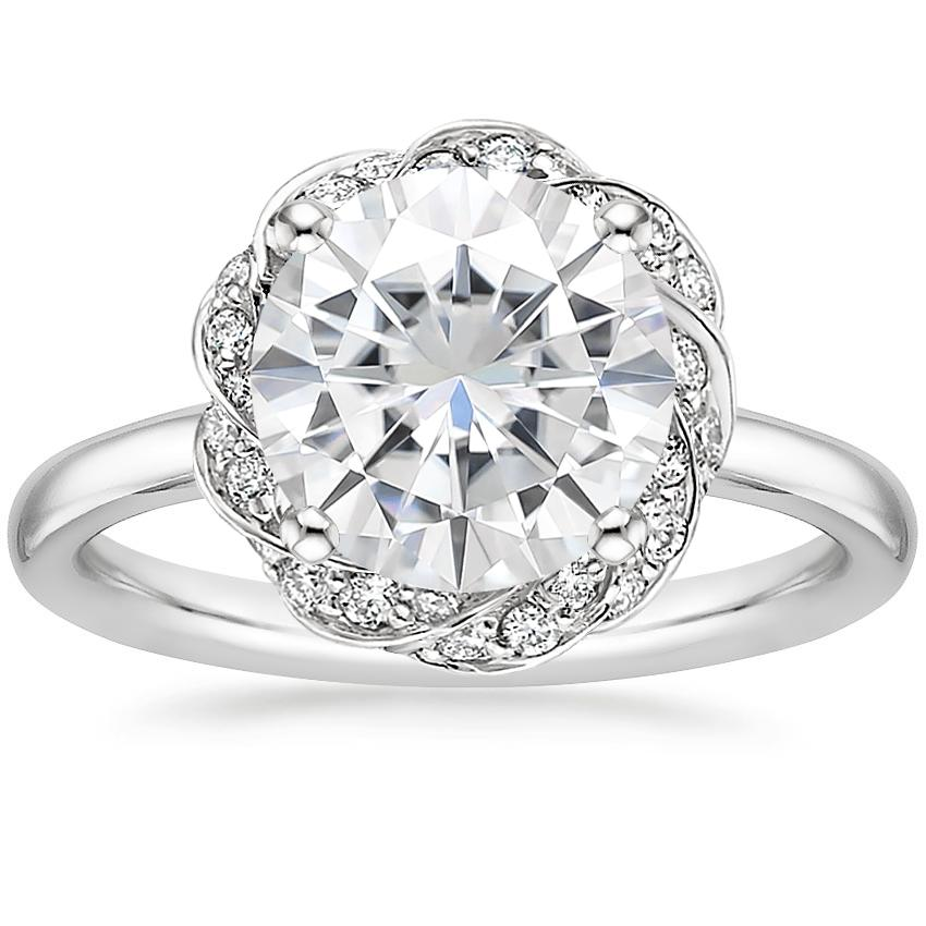 Moissanite Corinna Diamond Ring in 18K White Gold