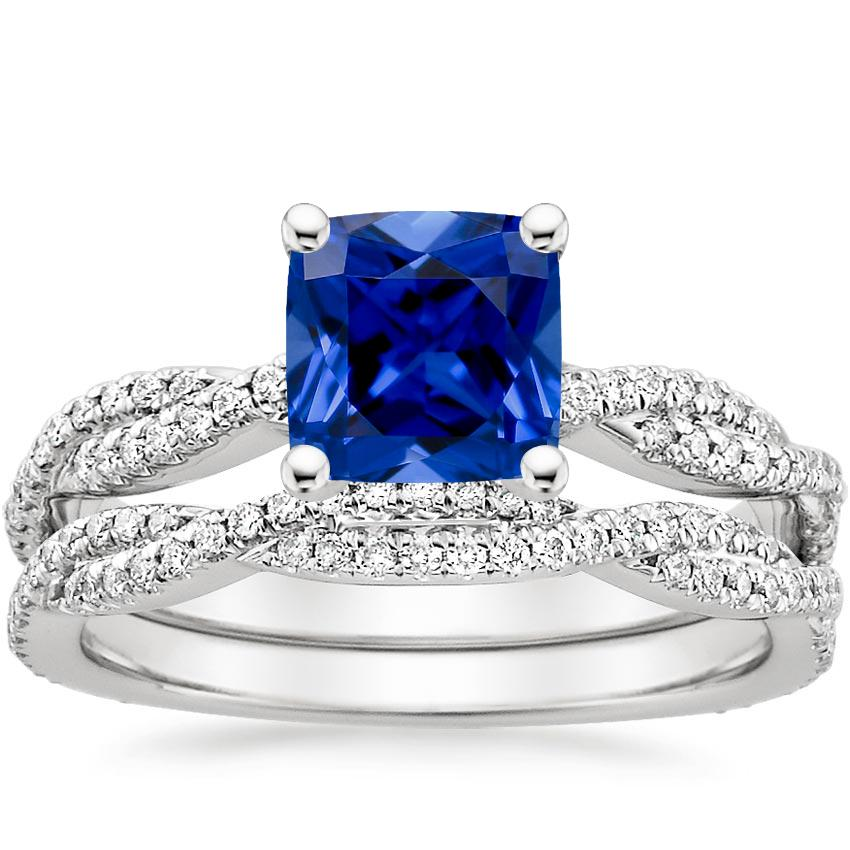 18KW Sapphire Petite Luxe Twisted Vine Bridal Set (1/2 ct. tw.), top view