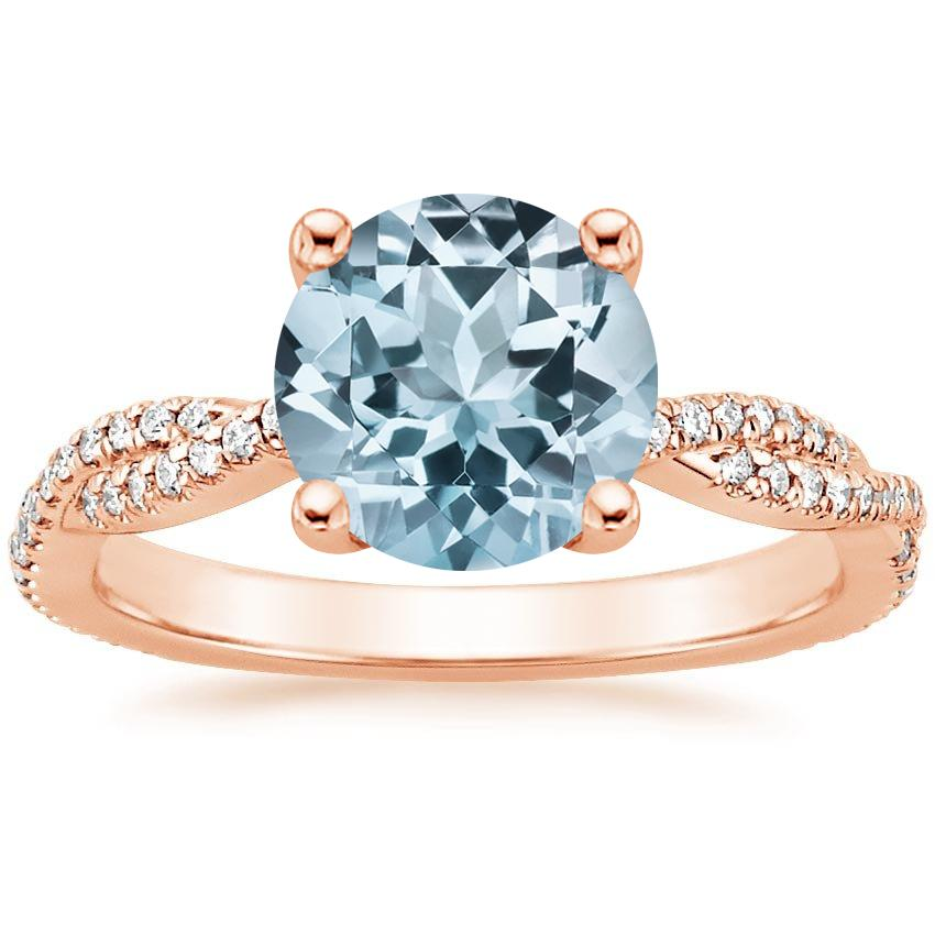 Rose Gold Aquamarine Petite Luxe Twisted Vine Diamond Ring (1/4 ct. tw.)