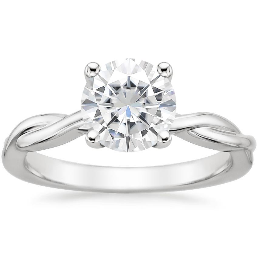 Moissanite Twisted Vine Ring in Platinum