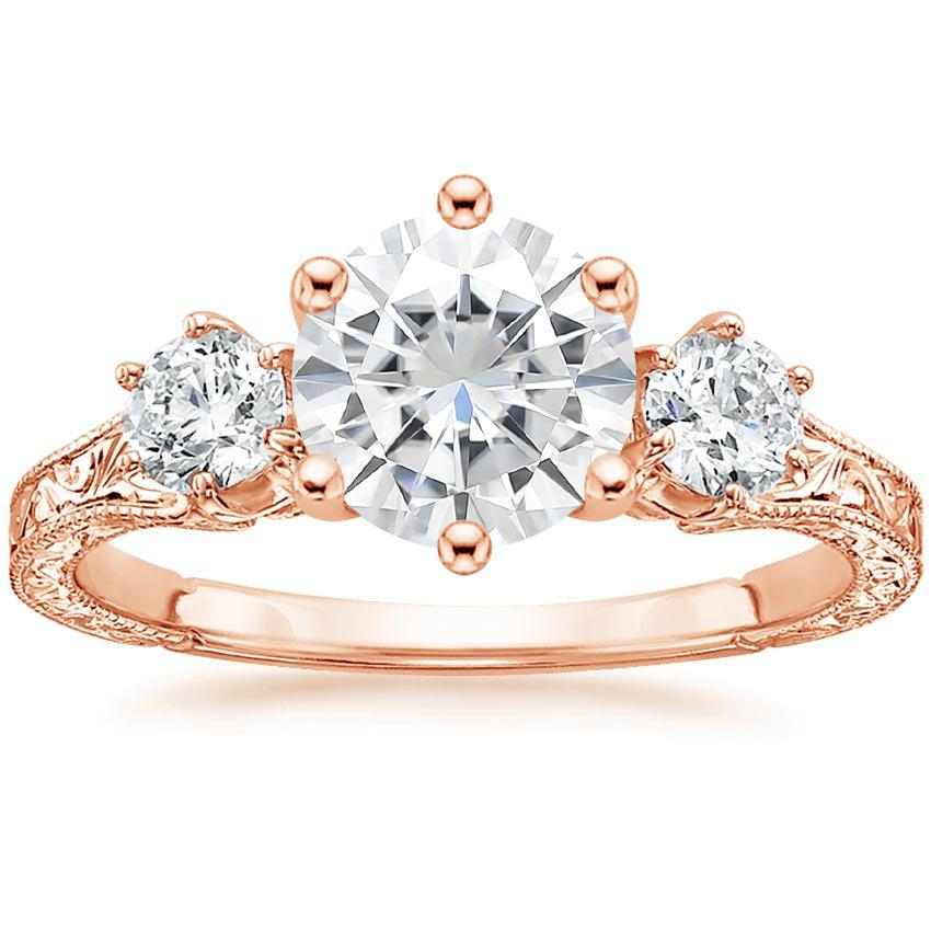 Rose Gold Moissanite Three Stone Hudson Diamond Ring (1/3 ct. tw.)