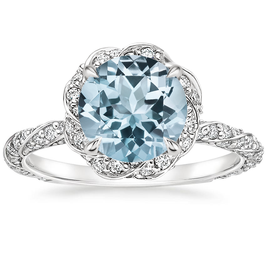 Aquamarine Nova Diamond Ring (1/2 ct. tw.) in 18K White Gold