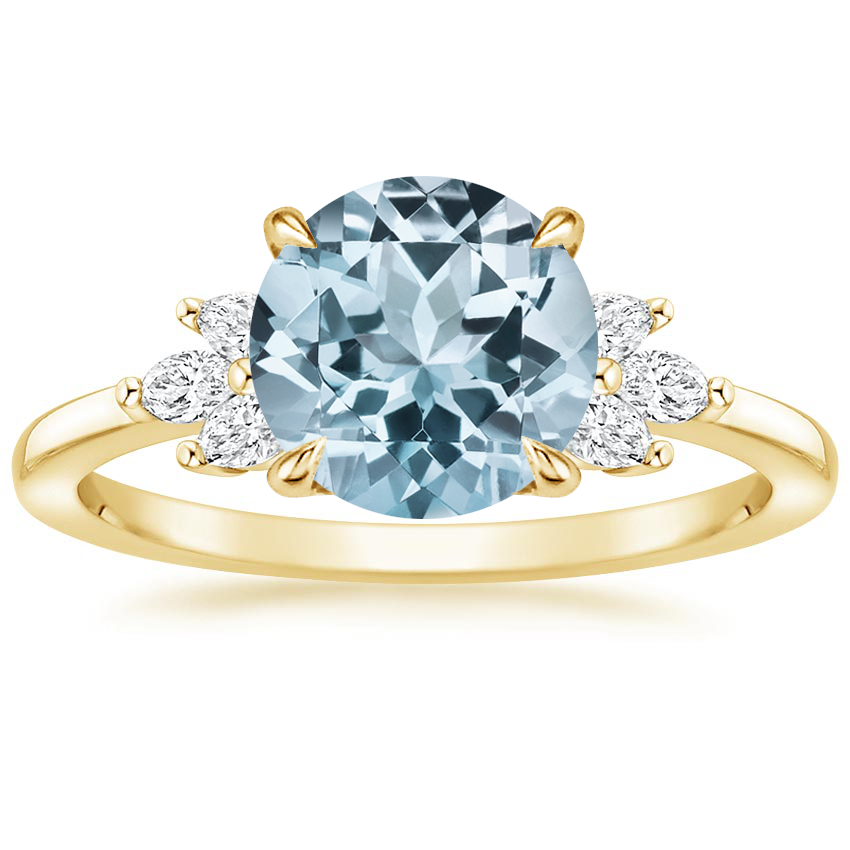 Yellow Gold Aquamarine Stella Diamond Ring