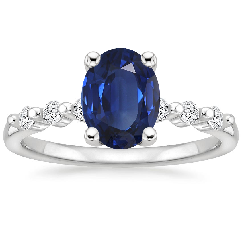 Sapphire Petite Marseille Diamond Ring (1/6 ct. tw.) in 18K White Gold
