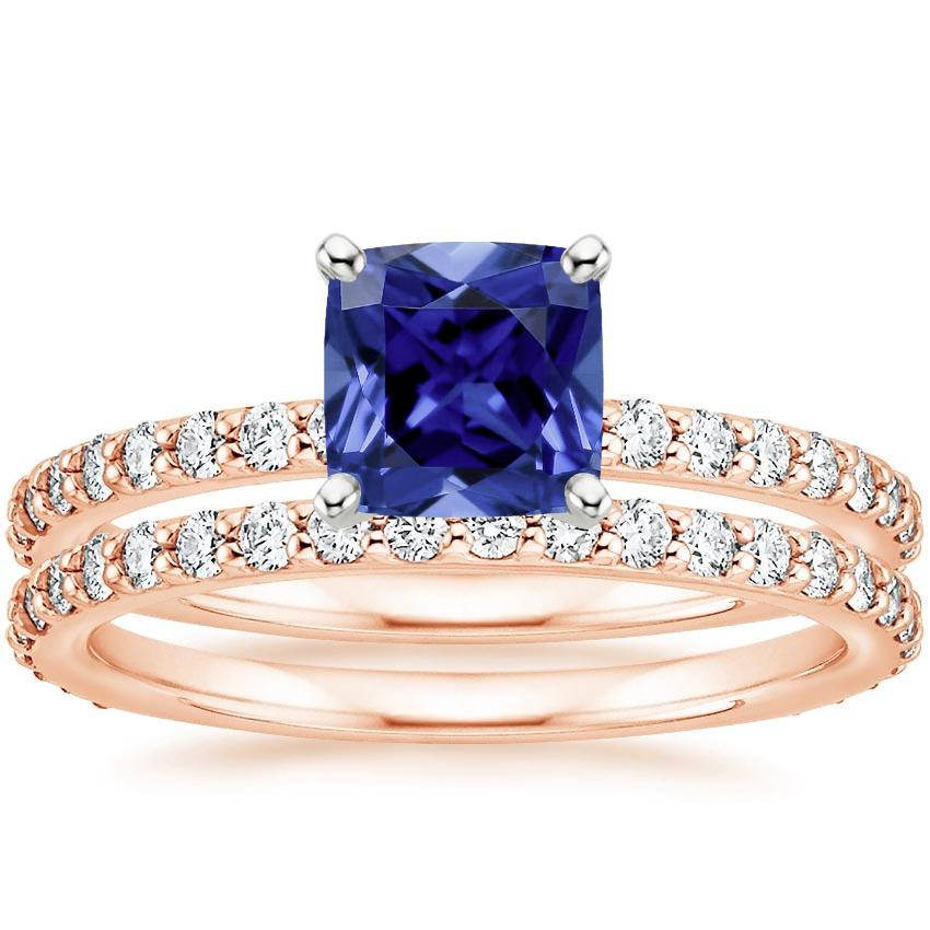 14KR Sapphire Luxe Petite Shared Prong Diamond Bridal Set (3/4 ct. tw.), top view