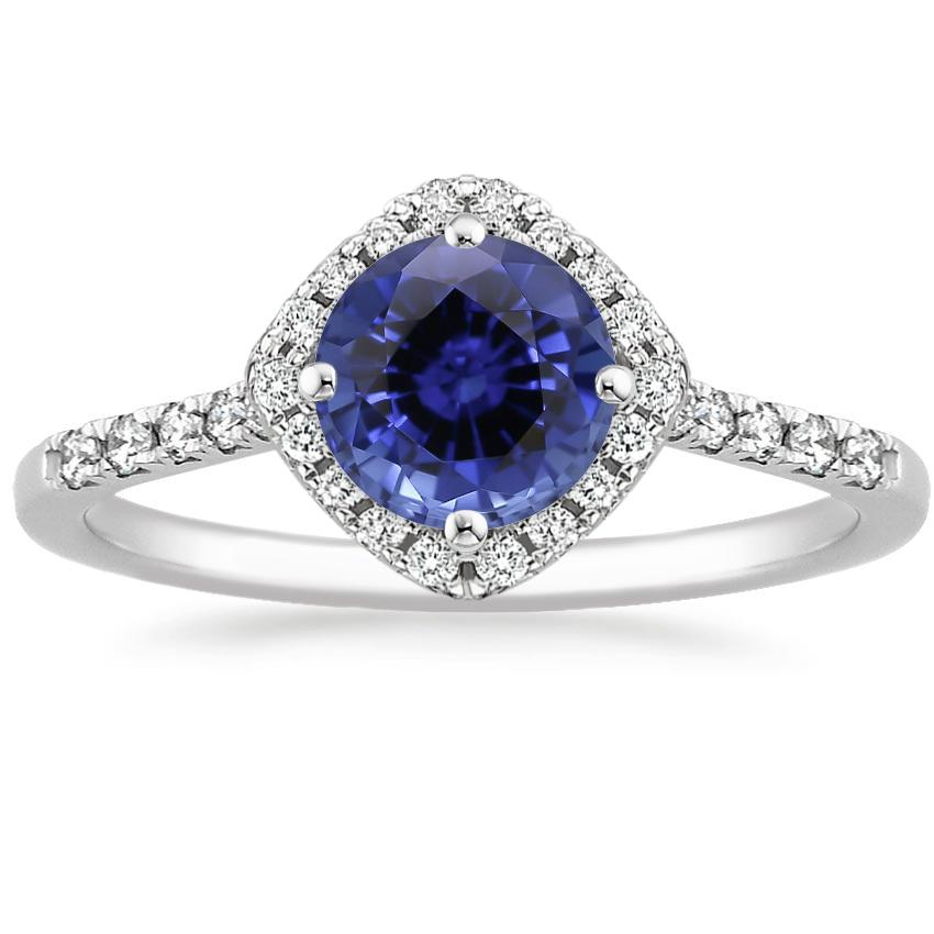 Sapphire Cometa Diamond Ring in 18K White Gold