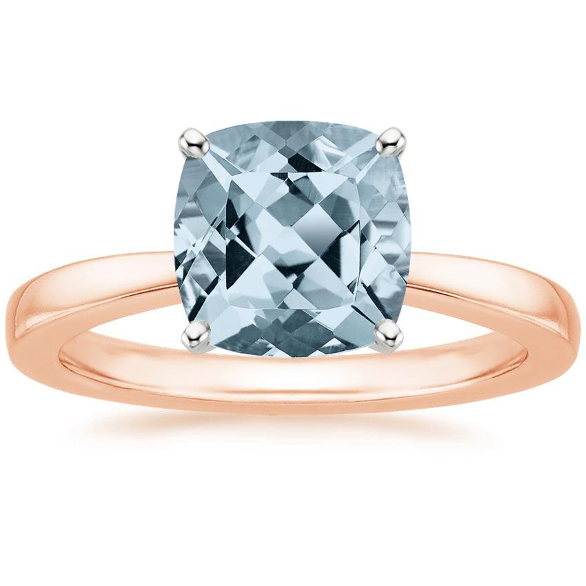 Rose Gold Aquamarine Petite Taper Ring