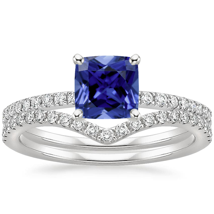 PT Sapphire Ballad Diamond Ring (1/8 ct. tw.) with Flair Diamond Ring (1/6 ct. tw.), top view