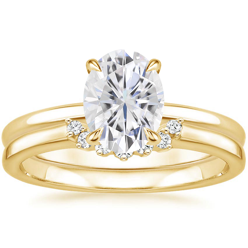 18KY Moissanite Elodie Ring with Crescent Diamond Ring, top view