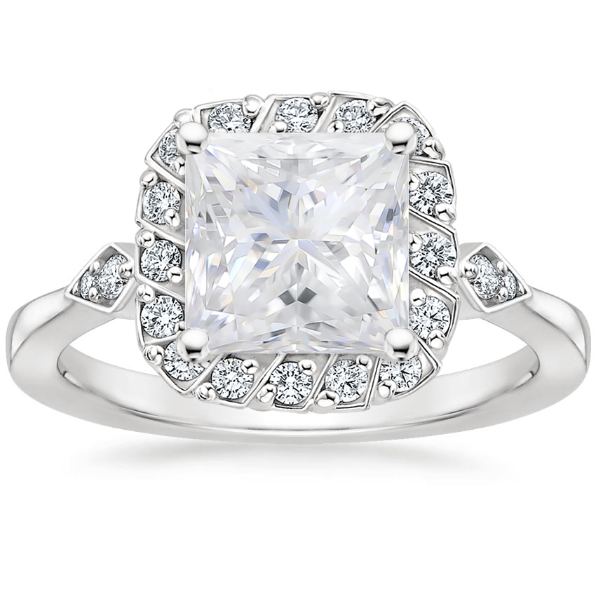 Moissanite Geo Halo Diamond Ring in 18K White Gold
