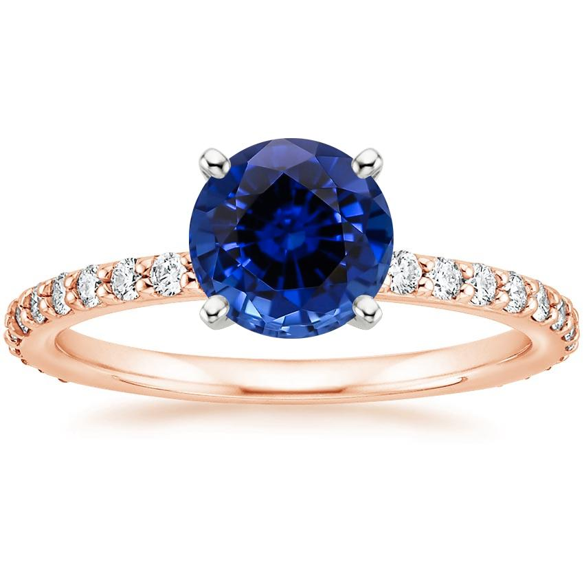 Rose Gold Lab Created Sapphire Luxe Petite Shared Prong Diamond Ring (1/3 ct. tw.)