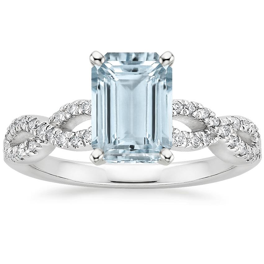 Aquamarine Infinity Diamond Ring in 18K White Gold