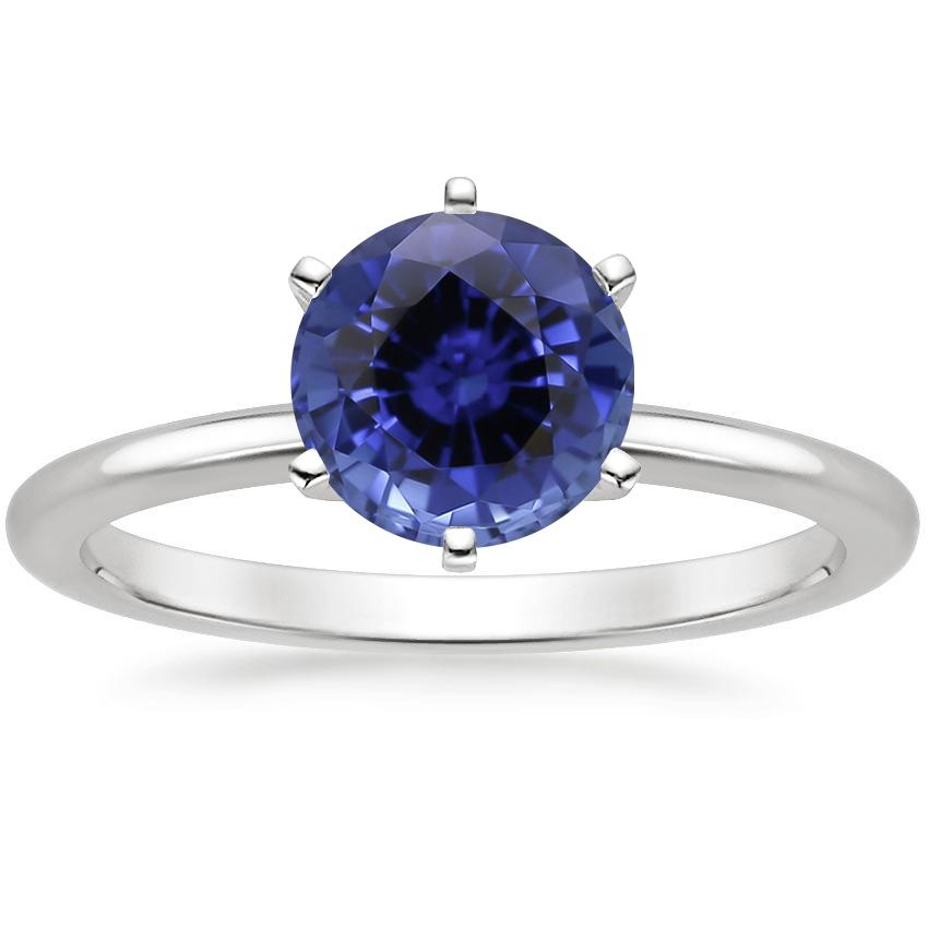 Sapphire Six-Prong Petite Comfort Fit Ring in 18K White Gold