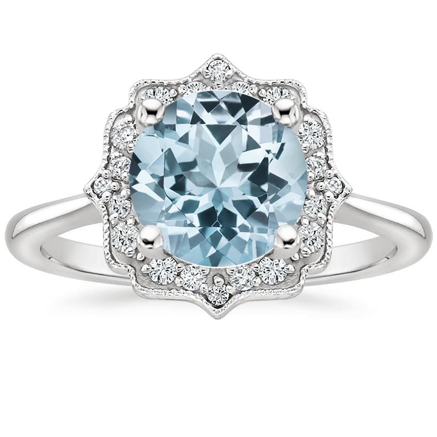 Aquamarine Coralie Diamond Ring in 18K White Gold