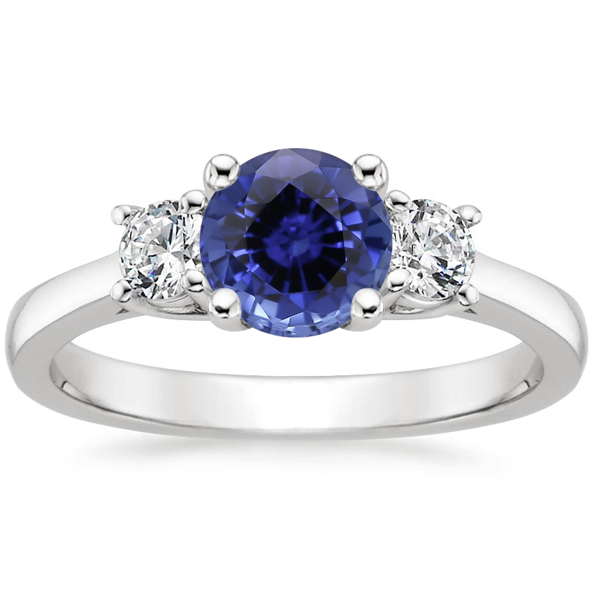 Sapphire Petite Three Stone Trellis Diamond Ring (1/3 ct. tw.) in 18K White Gold