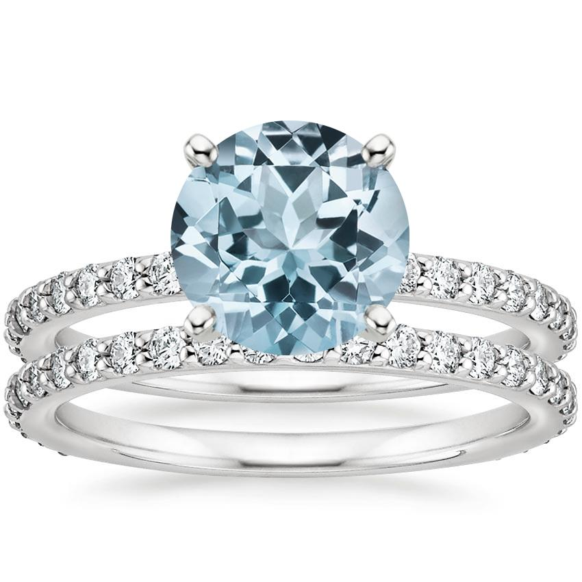 18KW Aquamarine Luxe Petite Shared Prong Diamond Bridal Set (3/4 ct. tw.), top view
