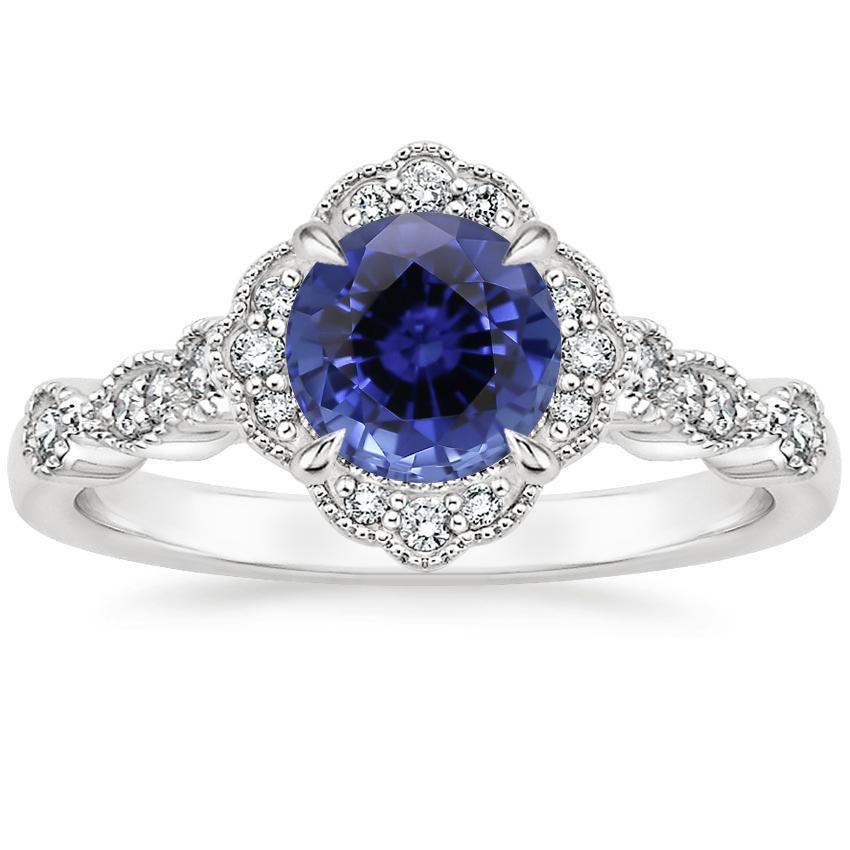 Sapphire Tiara Halo Diamond Ring in 18K White Gold
