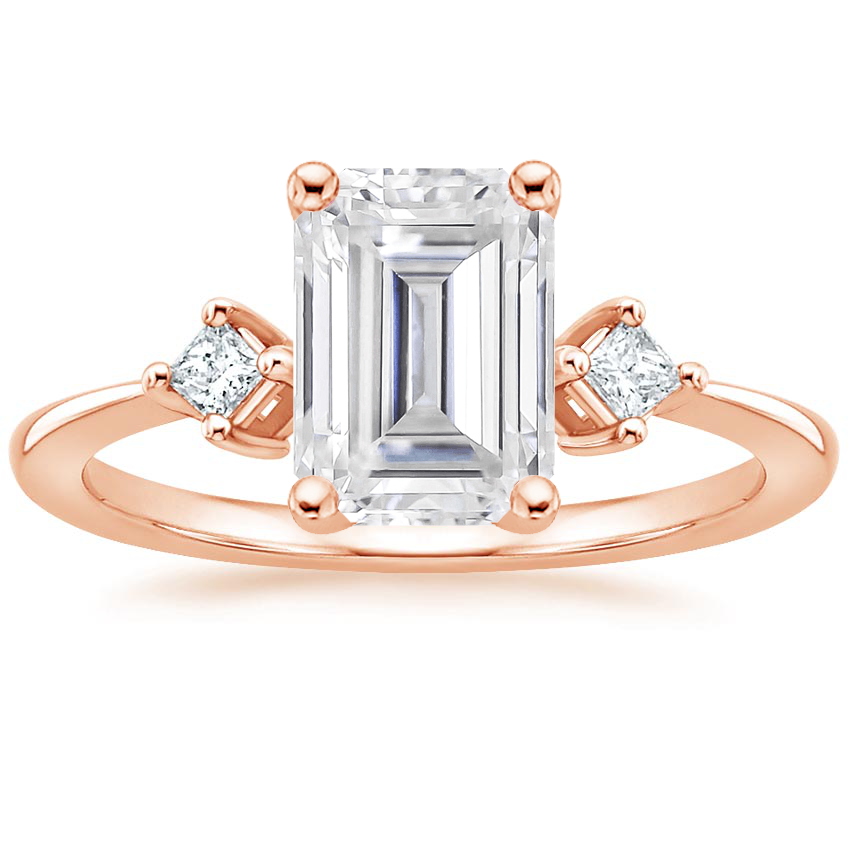 Rose Gold Moissanite Tria Diamond Ring