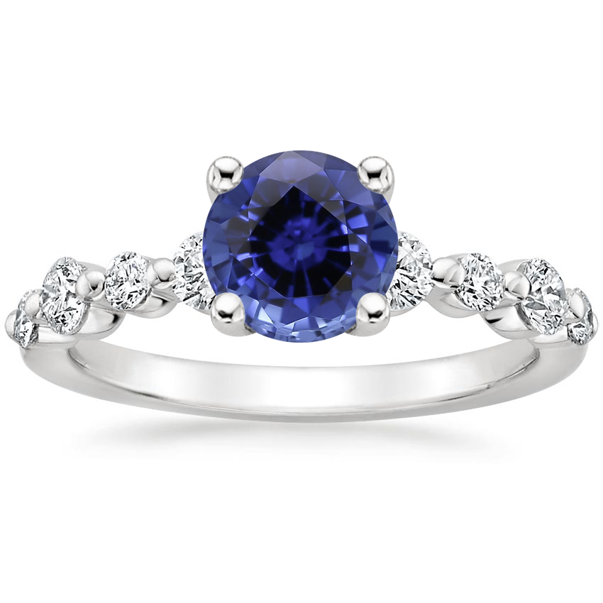 Sapphire Bordeaux Diamond Ring in 18K White Gold