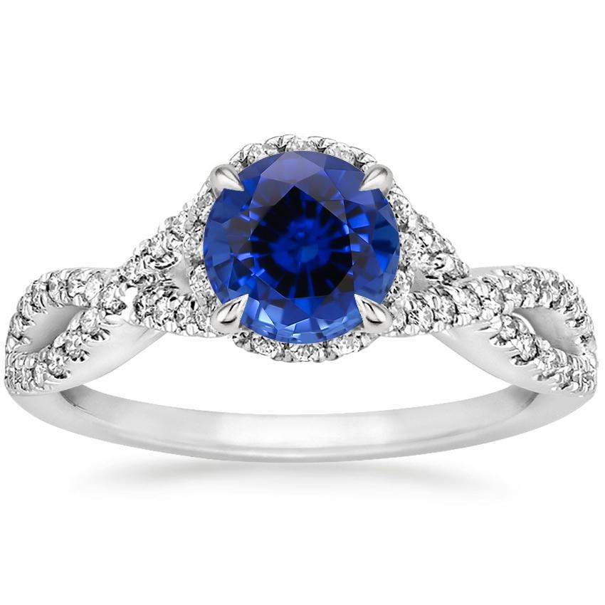 Sapphire Entwined Halo Diamond Ring (1/3 ct. tw.) in 18K White Gold