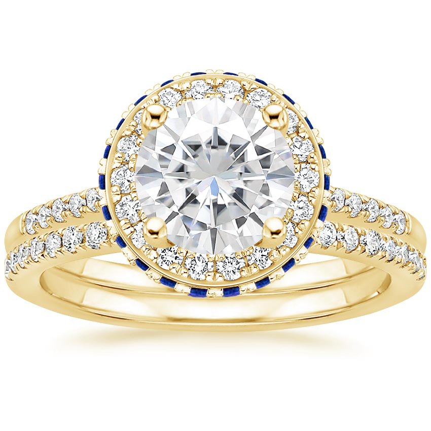 18KY Moissanite Circa Diamond Ring with Sapphire Accents with Ballad Diamond Ring (1/6 ct. tw.), top view