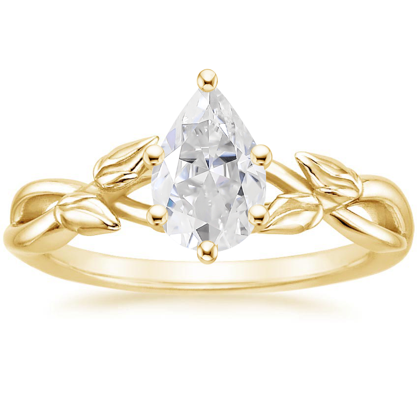Yellow Gold Moissanite Budding Willow Ring