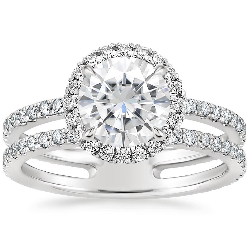 Moissanite Linnia Halo Diamond Ring (2/3 ct. tw.) in 18K White Gold