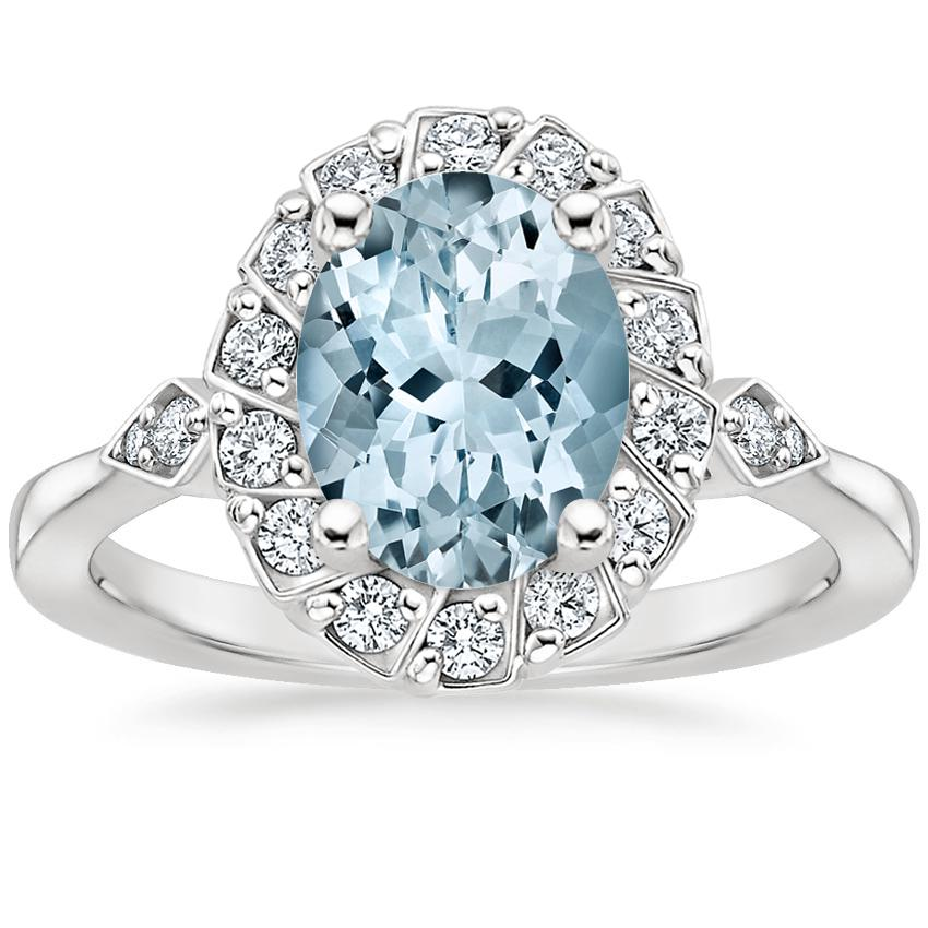 Aquamarine Geo Halo Diamond Ring in 18K White Gold