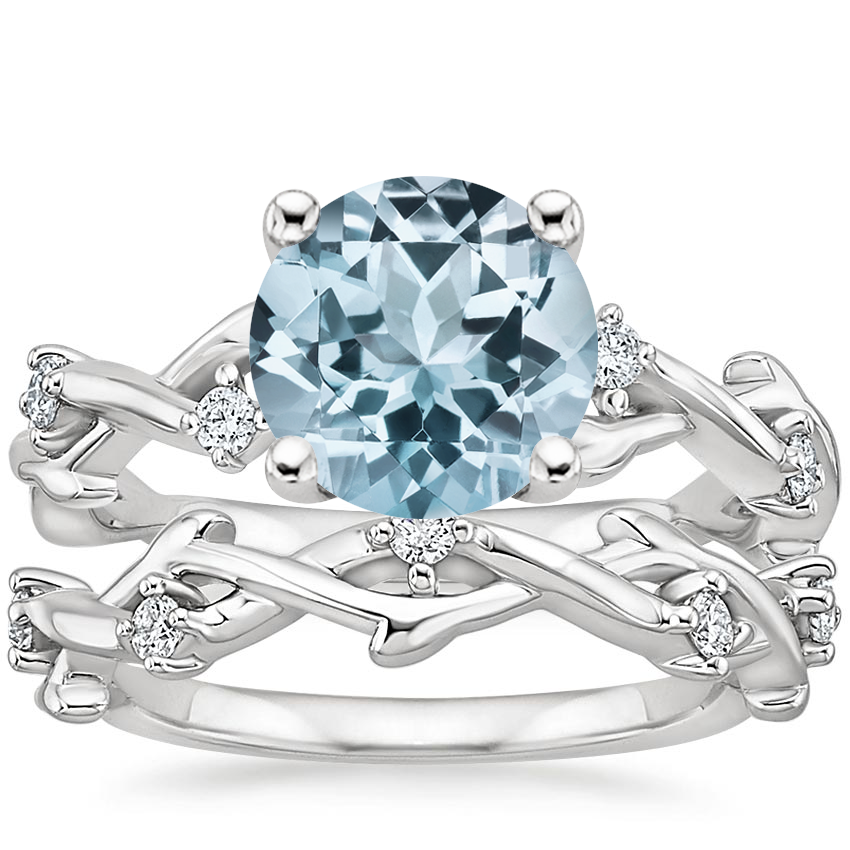 18KW Aquamarine Liana Diamond Bridal Set, top view