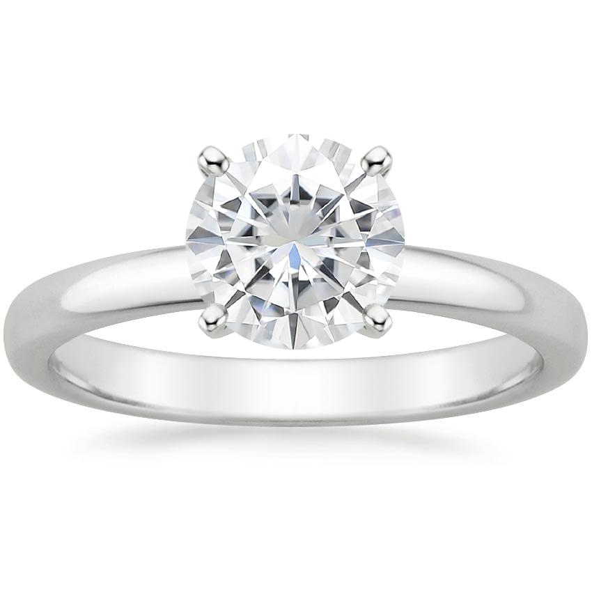 Moissanite 2.5mm Comfort Fit Ring in 18K White Gold