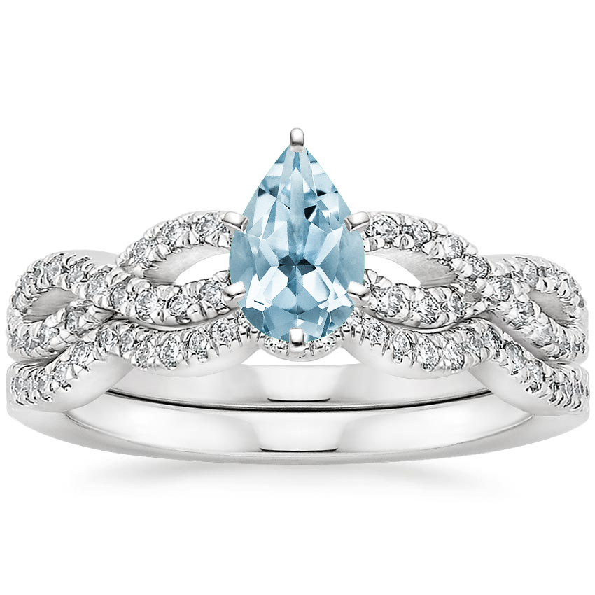 18KW Aquamarine Infinity Diamond Bridal Set (1/3 ct. tw.), top view