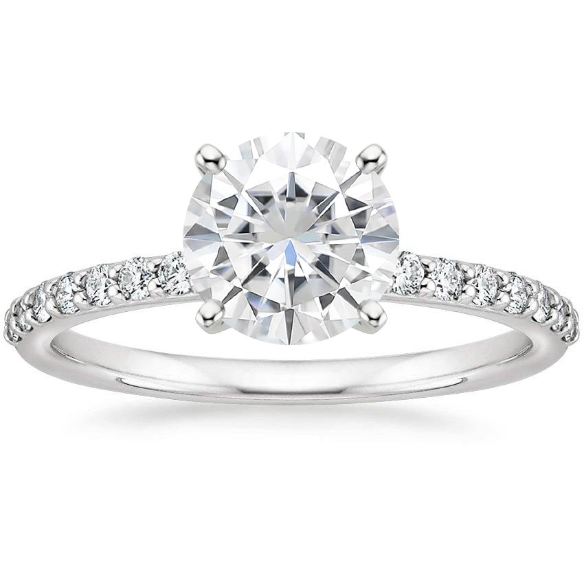 Moissanite Petite Shared Prong Diamond Ring (1/4 ct. tw.) in 18K White Gold