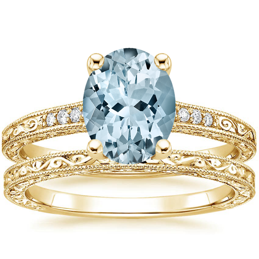 18KY Aquamarine Luxe Hudson Diamond Bridal Set, top view