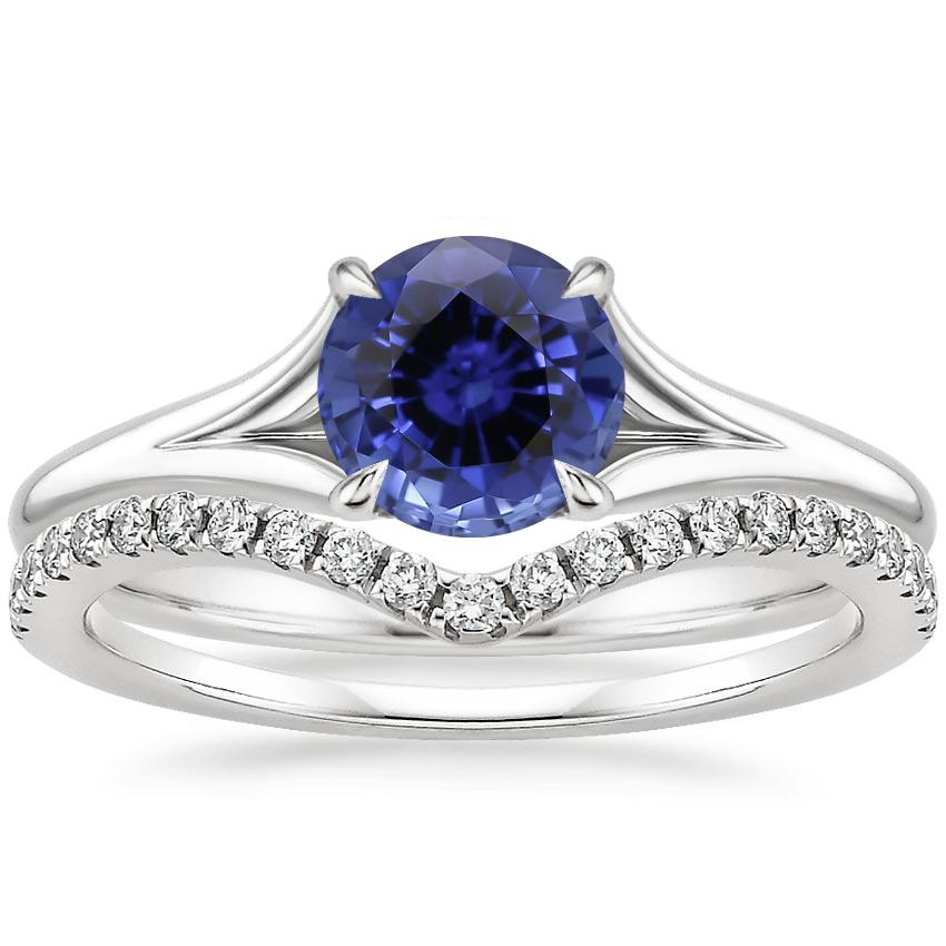 18KW Sapphire Reverie Ring with Flair Diamond Ring (1/6 ct. tw.), top view