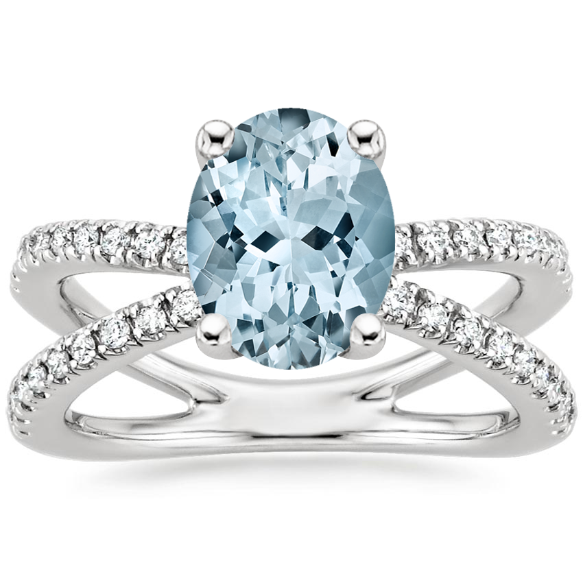 Aquamarine Bisou Diamond Ring (1/3 ct. tw.) in Platinum
