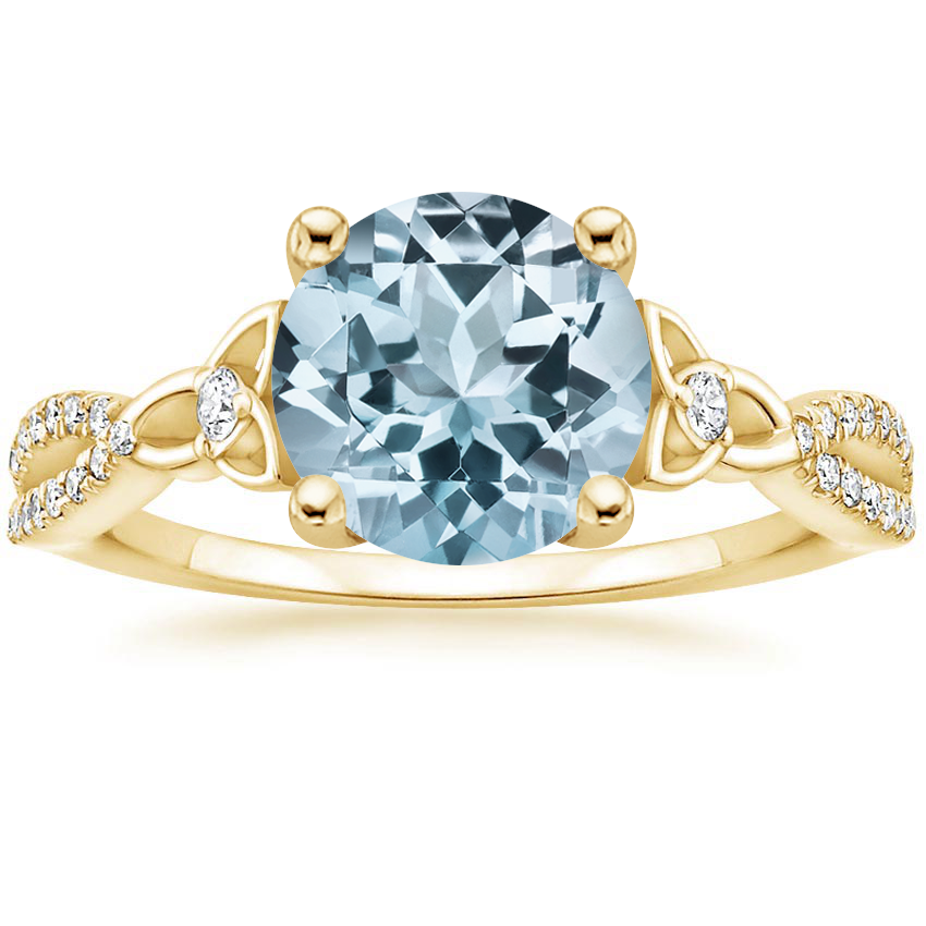 Yellow Gold Aquamarine Luxe Entwined Celtic Love Knot Diamond Ring