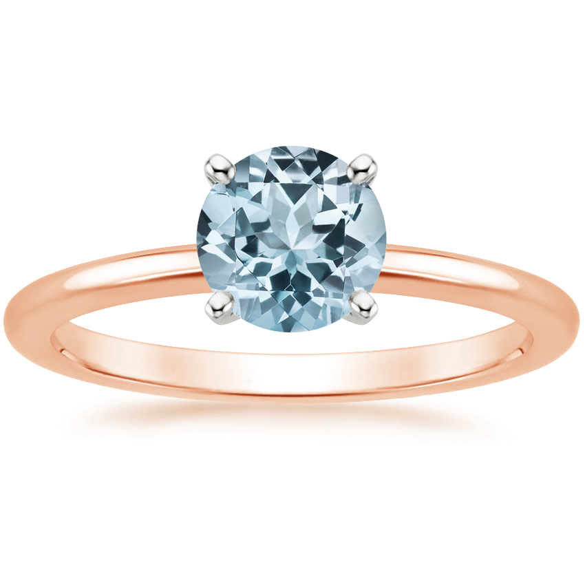 Rose Gold Aquamarine Four-Prong Petite Comfort Fit Ring