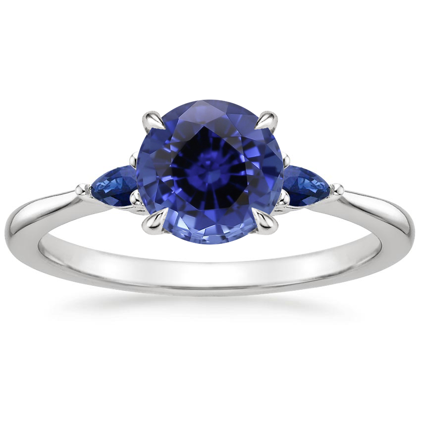 Sapphire Aria Ring with Sapphire Accents in 18K White Gold