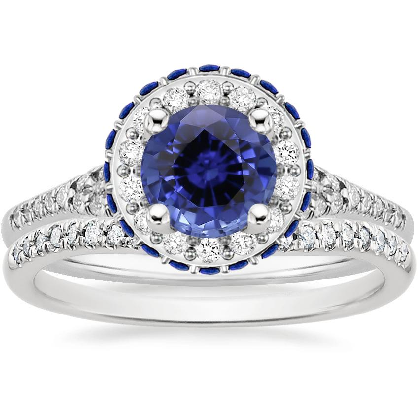PT Sapphire Circa Diamond Bridal Set with Sapphire Accents (1/3 ct. tw.), top view