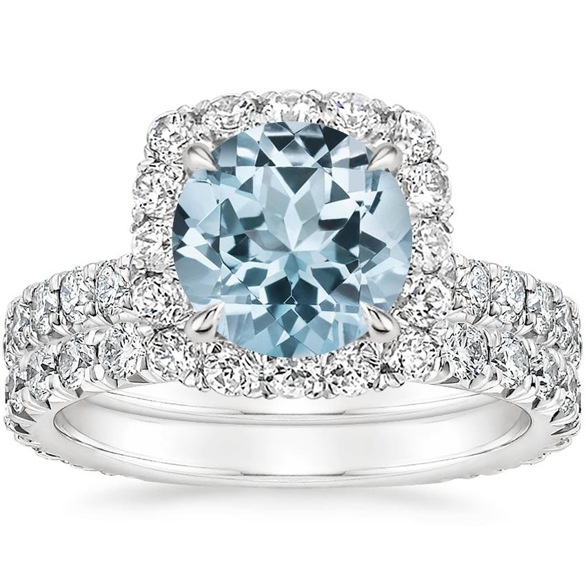 18KW Aquamarine Estelle Diamond Bridal Set (1 1/3 ct. tw.), top view