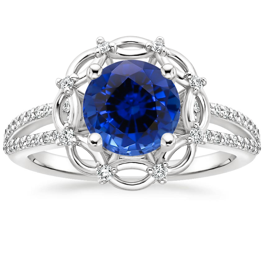 Sapphire Isabella Diamond Ring in 18K White Gold