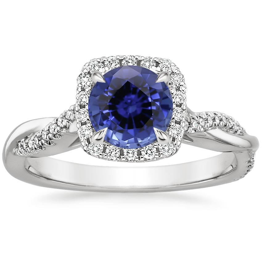 Sapphire Petite Twisted Vine Halo Diamond Ring (1/4 ct. tw.) in 18K White Gold