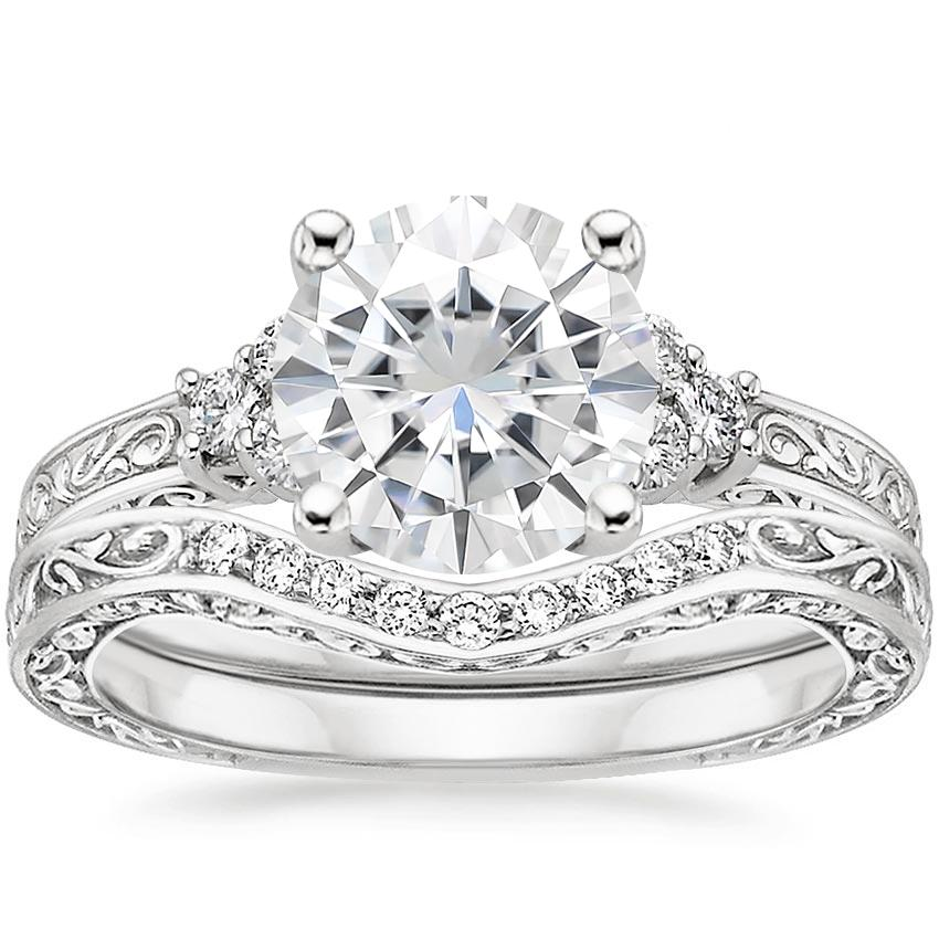 18KW Moissanite Adorned Trio Diamond Bridal Set (1/4 ct. tw.), top view