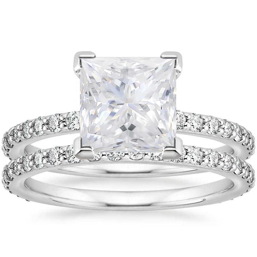 18KW Moissanite Luxe Petite Shared Prong Diamond Bridal Set (3/4 ct. tw.), top view