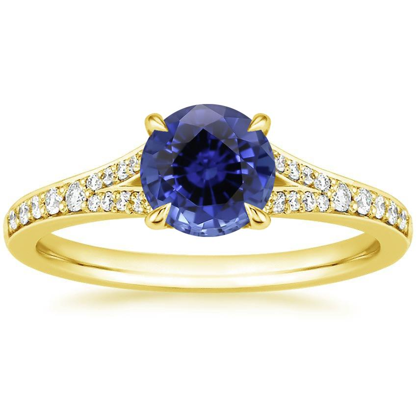 Yellow Gold Sapphire Duet Diamond Ring