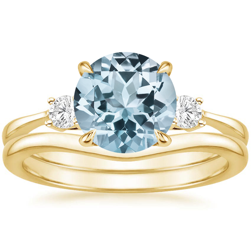18KY Aquamarine Selene Diamond Ring with Petite Curved Wedding Ring, top view